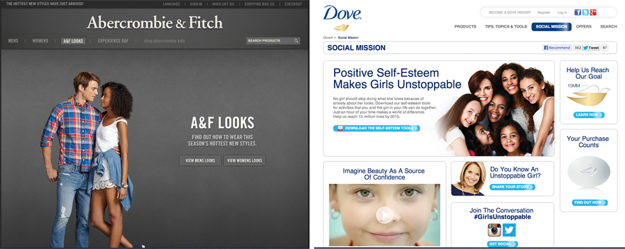 Abercrombie & Fitch and Dove, and their respective visions